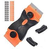 DXIA Rascador de Vidrio y Vitrocerámica, con 10 Cuchillas de Plástico y 10 Cuchillas de Acero Inoxidable, Raspador de Vidrio de Cocina para Limpiador para Cerámicas y Placas de Inducción