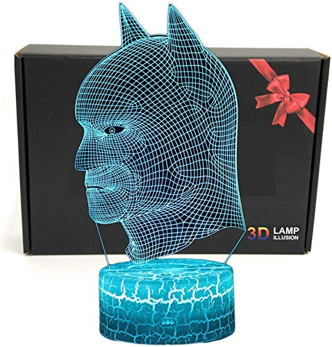 LED-Superheld 3D-Lampe mit optischer Illusion, intelligentes Nachtlicht, Tischlampe mit USB-Stromkabel in 7 Farben batman