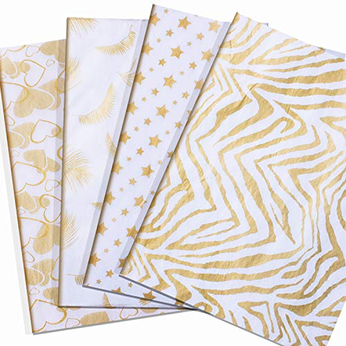 Metallic Gold Tissue Paper 48 Sheets, Tissue Gift Wrap Paper Bulk,Glitter Wrapping Accessory 28 Inch by 20 Inch