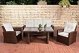 CLP Gartengarnitur FISOLO I Sitzgruppe mit 5 Sitzplätzen I Gartenmöbel-Set aus Polyrattan I Flachrattan erhältlich, Farbe:braun-meliert, Polsterfarbe:Cremeweiß