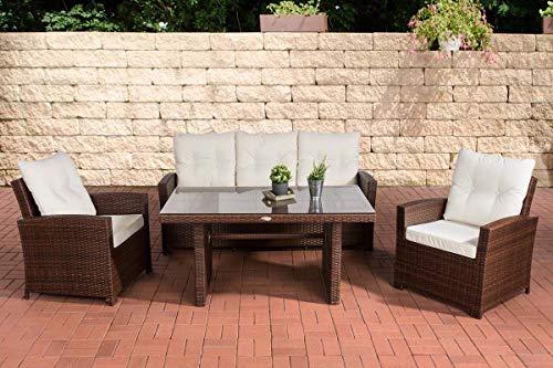 CLP Fisolo Set de muebles de jardín de ratán sintético, totalmente montado, con marco de aluminio, sofá de 3plazas + 2sillones + mesa de comedor de 140x 80cm + cojines, ratán, Rattan Colour: brown (mottled), Cushion: cream white