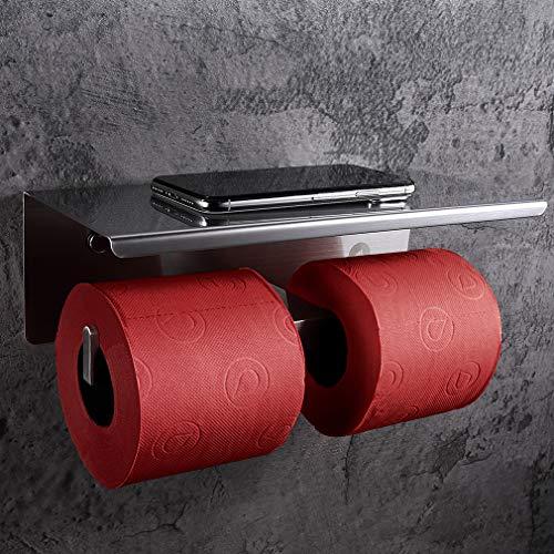 SimpleHome - Portarrollos de papel higiénico de acero inoxidable para 2 rollos sin taladrar, doble soporte para rollos de papel higiénico con estante para toallitas húmedas y smartphones.