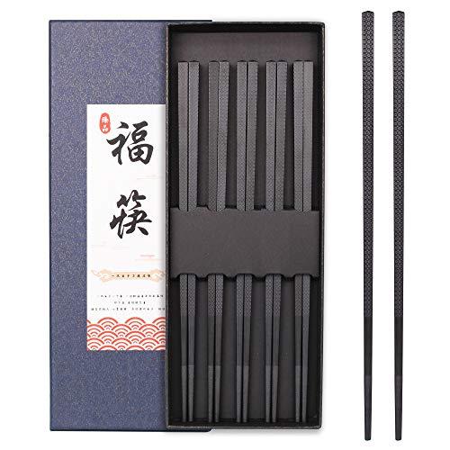 Chopsticks Reusable Fiberglass Dishwasher-safe Gift Set High temperature Chinese, Japanese Chopsticks, Non Slip Chopstick 5-Pairs 9.25inch