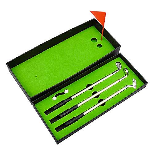 Demason Golfstifte, Golf Set,Golfschläger Kugelschreiber Mini-Golfbälle Golfgeschenkartikel Green 19,6x0,7cm - 9