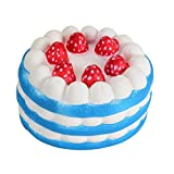 Joykith Stress Reliever Strawberry Cake Scented Super Slow Rising Kids Toy (Blue)