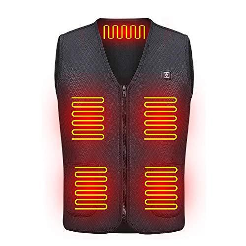 Schwarz USB Jacke Heizbar für Männer/Frauen,Leicht Waschbar USB Heizungs Weste mit 2 Heizzonen und 3 Temperaturregler,L Weste Warm für Kinder, Heizweste Elektrische Thermo-Westenkleidung, Einstellbar