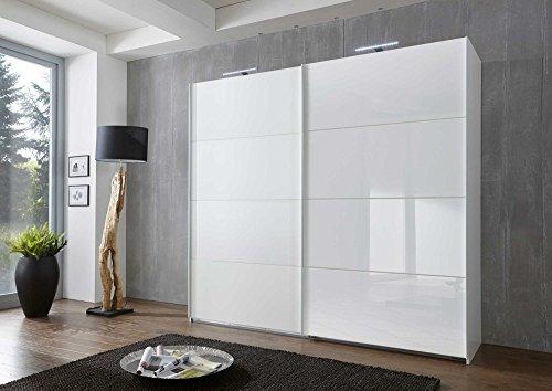 lifestyle4living Kleiderschrank, Schwebetürenkleiderschrank, Schwebetürenschrank, Schweber, Schlafzimmerschrank, Wäscheschrank, alpinweiß, Glas...
