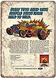 Placa de metal nostálgica con diseño de coches explosivos,