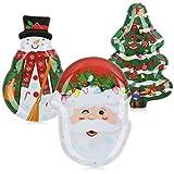 Com-four® 3 platos navideños de melamina - plato de san nicolás con diferentes motivos y formas - platos de adviento para pasteles y frutas [la selección varía]