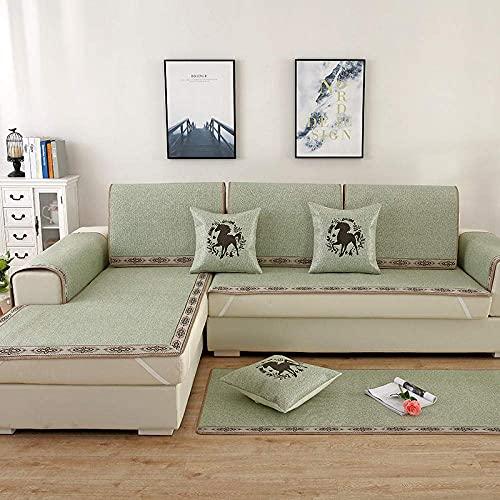 L.TSA Protector de Muebles Suave y Duradero, cojín de sofá Moderno y Simple, Funda de combinación de Color sólido para Sala de Estar-Grass Green_60 * 90cm, Funda de sofá Antiarrugas