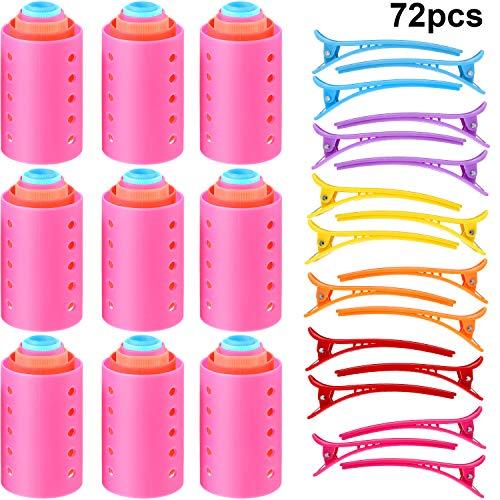 Set de rodillos magnéticos de 72 piezas. Rodillos de plástico de 54 piezas. Rodillos de plástico de 18 piezas. Dientes de pato de plástico multicolor. Pinzas para el cabello