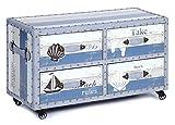 ts-ideen Landhaus Design Kommode Schrank Sideboard mit 4 Schubladen auf Rollen