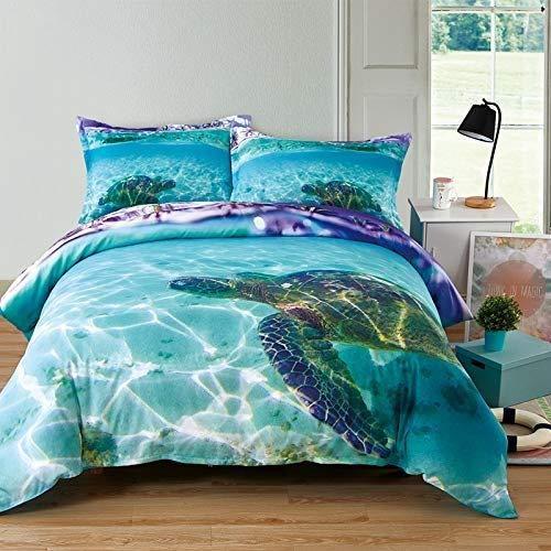 Turtle Duvet Cover Full Kids Sea Turtle Bedding 3D Ocean World Quilt Comforter Cover Nature Modern Ocean Bedding with Tortoise Pillowcases Blue Nautical Beach Animal Bed Gift for Children Teens