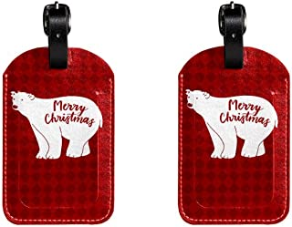 Merry Chrismas BearLeather Luggage Tags Suitcase Labels Bag Travel ID Bag Tag, 1 Pcs