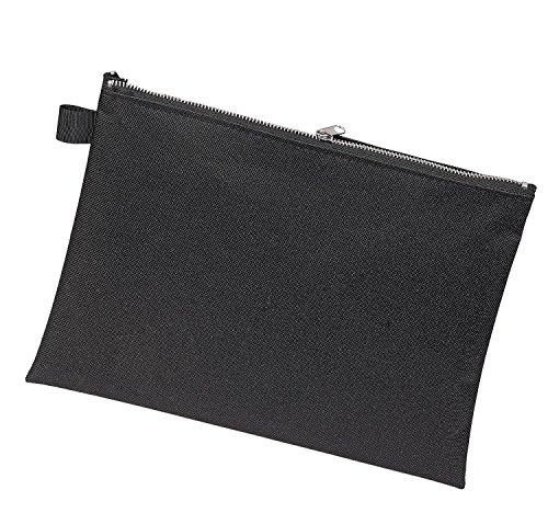 Veloflex 2725000 Banktasche A5, Transporttasche, Geldtasche, robustes Textil, Metallreißverschluss, schwarz