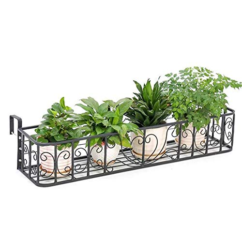 WyaengHai Flower Stand Multi-function Flower Stand Iron Railing Balcony Hanging Pot Shelf Fence Fence Plant Stand Perfect for Home Garden Patio (Color : Black, Size : 60 * 23 * 22cm+6cm 2 hooks)