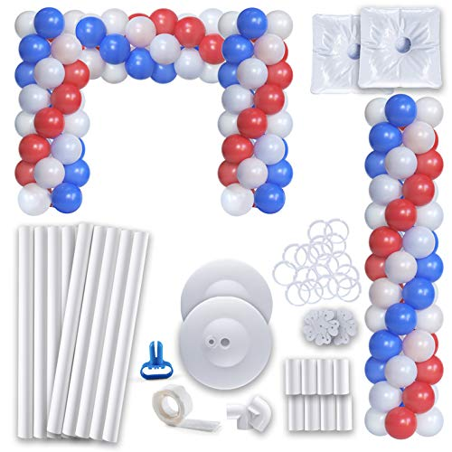 Prextex Balloon Column Assembly Kit - 5 Feet Tall Set of 2 Balloon Columns with Balloon Rings for Wedding, Birthday Party and Event Decorations