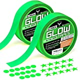 Glow in The Dark Tape - Premium Pack 2 Rolls of UV Glow in The Dark Tape with 30 Fluorescent Stars and 30 Dots Stickers for Home Decor Wall Ceiling Stairs Stage Party Halloween Decorations