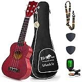 Everjoys Soprano Ukulele Starter Kit - Professional 21 inch Mahogany ukulele w/Free Online Lesson Case Strap Digital Tuner Aquila Strings Ukalalee Yukalalee