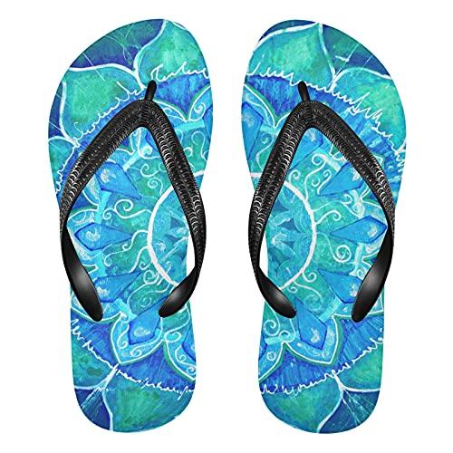 Linomo Sandalias abstractas de la playa del verano de la mandala india de los hombres para las mujeres, color, talla 34.5/37 EU