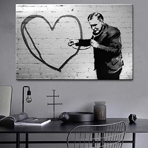 Negro Blanco Pared Arte Banksy Poster Y Impresiones Un Hombre Escuchar Latido del CorazóN Graffiti Lienzo Pintura Cuadros para Salon HabitacióN Decoracion 50x70cm Sin Marco