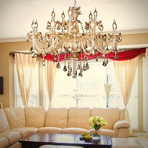 Samger Luxus Kronleuchter Kristall 15 Armleuchter Cognac Farbe Pendelleuchte K9 Kristallglas Modern E14 Für Wohnzimmer Schlafzimmer Flur Eingang