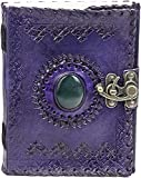 TUZECH Handmade Office Home Daily Use, Poem Writing Beautiful Pure Leather Luck Stone Bound Journal/Diary with Lock for Men and Women (6X4 inches) (Purple)