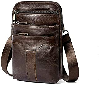 FYXKGLan Men's Genuine Leather Retro Fashion Multifunctional Male Fanny Pack with The Belt (Color : Coffee)