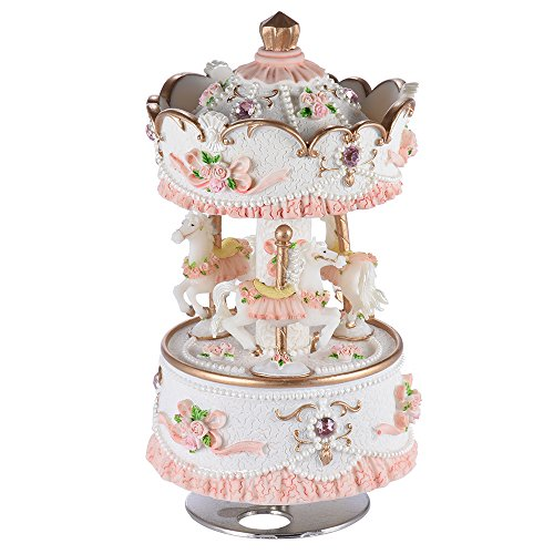 ammoon Laxury Baseball 3-horse Karussell Musik Box Creative Artware/Geschenk Melodie Castle in the Sky pink/lila/blau/gold Schatten für Option rose