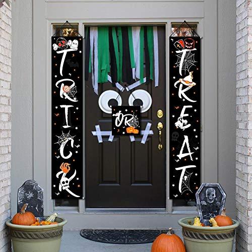 OurWarm Halloween-Dekorationen im Freien, 3Stück buntes Süßes sonst gibt's Saures Halloween-Fahnenset mit Spinnen-Kürbis-Geistern für Innenministerium-Garten-Portal-Haustür-Dekorationen