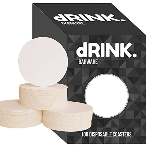 dRINK Barware Coasters, Pack of 100, 4 inch Round Plain White (Heavyweight Pulpboard Absorbent Coasters, Beverage Drink Coasters, Protect furniture from damage, DIY Kids Arts and Crafts)
