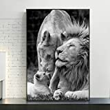 LEELFD Canvas Print Wall Art Picture African Lions Family Black and White Animals Lion Canvas Painting Wall Art Home Decor 60x90cm(24x35in) Unframed