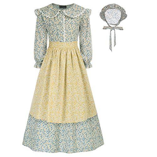 Dirndl 3 TLG.Trachtenkleid für Mädchen A-Linien-Kleid mit Hut und Schürze Schultern mit Rüschen 6 Jahre Hellblau Gelb