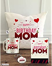 ALDIVO Combo Pack of Happy Birthday Mom Printed 12 x 12-inch Satin Cushion Cover with Filler, Mug, Key Ring and Greeting Card (White)