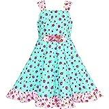 Vestido para niña Azul Tanque Floral Corbata de moño Verano Sol 6 años