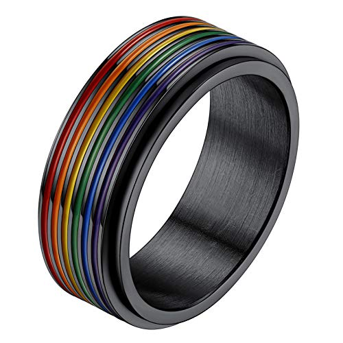 PROSTEEL Rainbow Ring Mens Pinky Ring Stainless Steel Pride LGBT Wedding Band