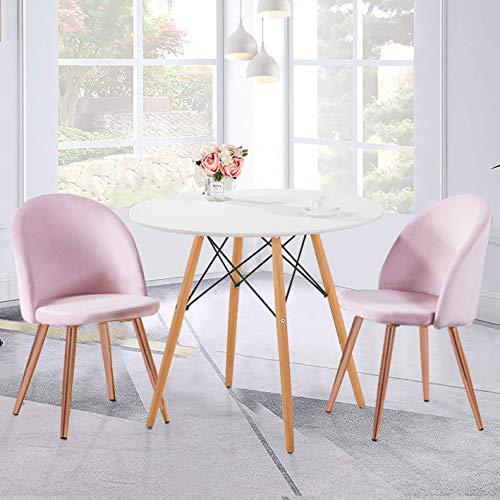GOLDFAN Mesa de comedor redonda y 2 sillas de madera con juego de 2 sillas de comedor de terciopelo suave, 80 cm, oro rosa