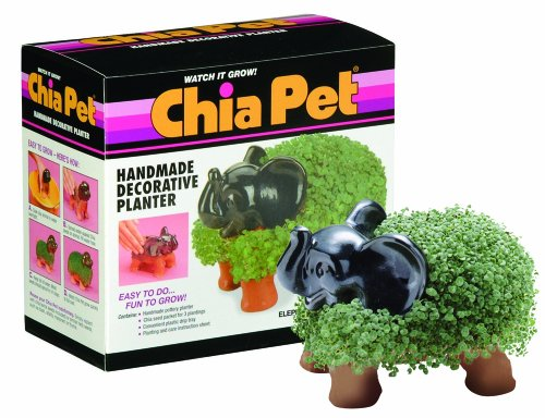 Chia Pet Elephant with Seed Pack, Decorative Pottery Planter, Easy to Do and Fun to Grow, Novelty Gift, Perfect for Any Occasion