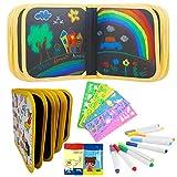 Blocco da disegno portatile cancellabile,lavagna da disegno per Bambini,Portatile da Disegno per Bambin,Libro di Pittura Graffiti Riutilizzabile,con 14 Pagine 12 Penne Cancellabili Colorate (unicorno)