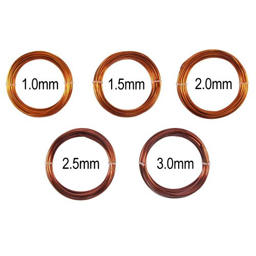 Bonsai Training Wire in Solid Enameled Copper - Set of 5 Sizes - 1.0mm, 1.5mm, 2.0mm, 2.5mm, 3.0mm