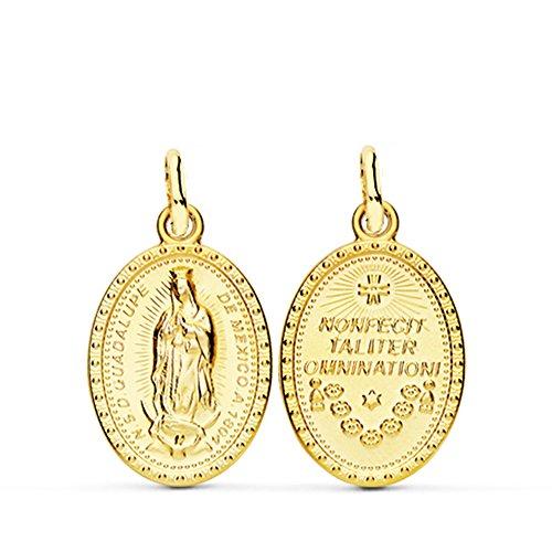 Alda Joyeros Medalla escapulario Virgen Guadalupe México Oro 18 kilates 21mm