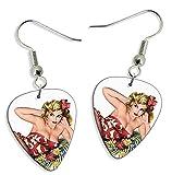 50s Pin Up Girl Flower In Hair 2 X Logo Guitarra Pick Earrings Pendientes (GD)...