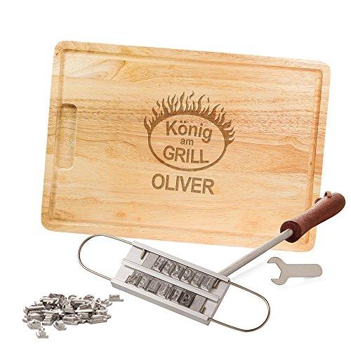 Casa Vivente Grillset, BBQ Brandeisen und Schneidebrett, König am Grill, Personalisiert mit Namen, Grillzubehör, Vatertagsgeschenke
