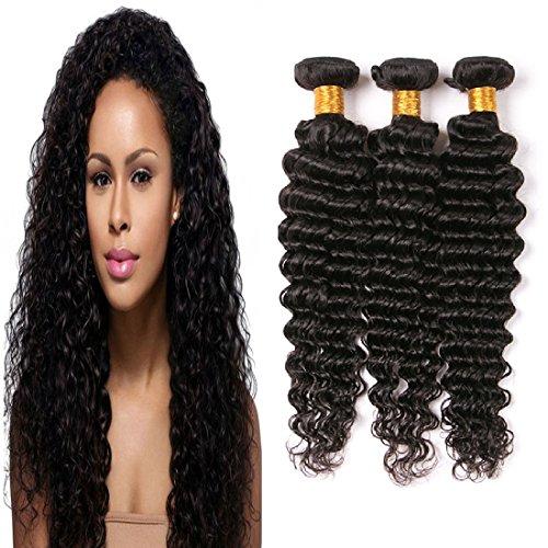 Brazilian Deep Wave 3 Bundles Virgin Human Hair 10 12 14 Inch Double Weft Wavy Weave Bundles 300 Grams Unprocessed Remy Hair Natural Black Color