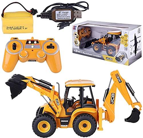 Excavadora RC con control remoto de 2,4 GHz, 2 en 1 excavadora de Caterpillar con cargador y excavadora, regalo de juguete 1:20 para niños y adultos