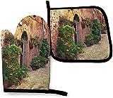 Street in Village Mallorca España Vintage Puerta Carretera Cocina Horno Mitones y porta ollas Juegos de 2, Poliéster resistente Guantes de horno impermeables Guantes de cocina para cocinar Hornear