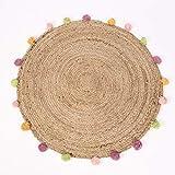 SCHÖNER LEBEN. Alfombra redonda con pompones de yute natural, multicolor, 90 cm
