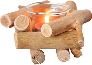 KESYOO Wooden Candle Holder with Glass Cup Coastal Style for Farmhouse Home Decoration Home Altar Decoration Holoday Weddi...