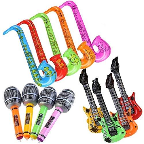 Guitarra inflable, saxofón, micrófono, globo, divertidos accesorios para instrumentos, los suministros para la fiesta de cumpleaños prefieren los accesorios para fotomatón (12 piezas)