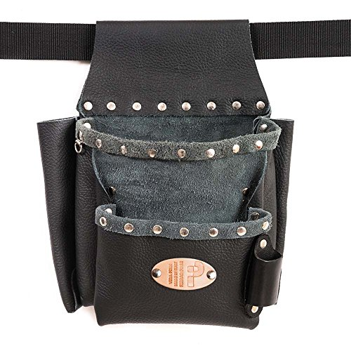 Europe - Sac en cuir véritable, noir, rivets Chrome, la main en Italie, ceinture non inclus